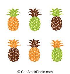 appartamento, set, ananas, colorful., icona