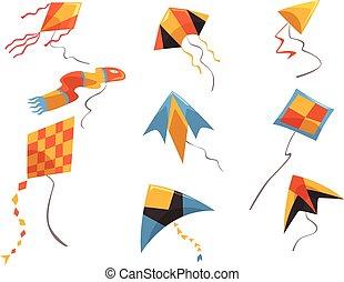 appartamento, set, attività, volare, cielo, intrattenimento, luminoso-colorato, tema, vettore, giocattoli, kites., hobby, vento, play., bambini