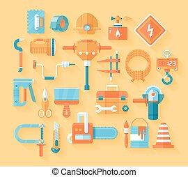 appartamento, set., attrezzi, lavorativo, icona