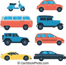 appartamento, set, automobile, icona