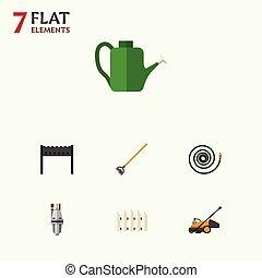 appartamento, set, bailer, giardino, elements., barriera, legno, attrezzo, legno, hosepipe, include, anche, vettore, lattina, objects., altro, icona