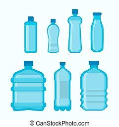 appartamento, set, bottiglie, icone, isolato, plastica, forme, vettore