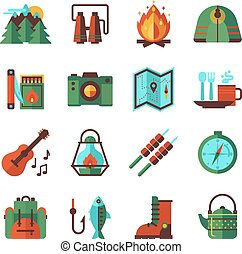 appartamento, set, campeggio, andando gita, icone