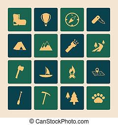 appartamento, set, campeggio, icone, fuori, turismo