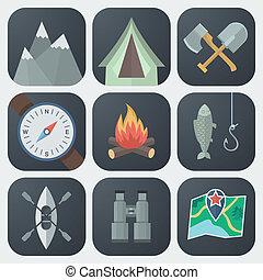 appartamento, set, campeggio, icone
