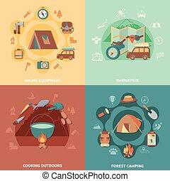 appartamento, set, campeggio