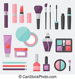 appartamento, set, colorato, icone, cosmetica, style.