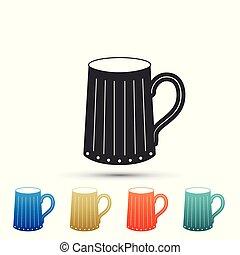 appartamento, set, colorato, legno, birra, isolato, icons., fondo., tazza, vettore, illustrazione, bianco, icona, elementi, design.