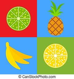 appartamento, set, colorato, semplice, limone, isolato, cibo., tropicale, calce, luminoso, vettore, bocca-watering, banana., fruits., ananas, kiwi, illustration.