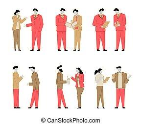 appartamento, set, colorito, parlare, persone, persone., moderno, carattere, contorno, affari, conversation., caratteri, cartone animato, colorito, style.