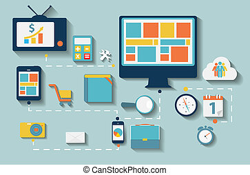 appartamento, set, computer, illustration., web, mobile,...