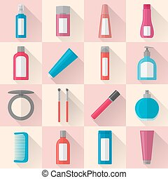 appartamento, set, cosmetica, trucco, icone