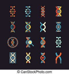 appartamento, set, dna, icone, genetico, vettore