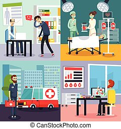 appartamento, set, dottore, carattere, maschio, icona