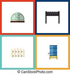appartamento, set, elements., barriera, dacha, serbatoio, contenitore, anche, vettore, barbecue, legno, objects., include, altro, icona