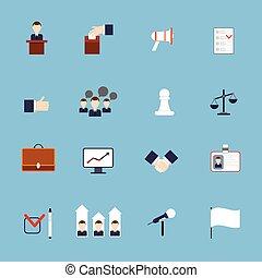 appartamento, set, elezioni, icone