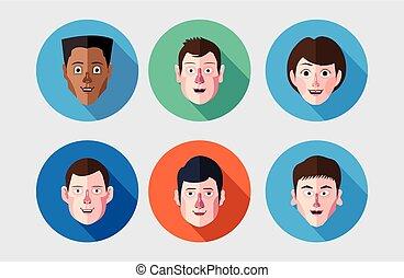 appartamento, set, espressione, avatar, icone