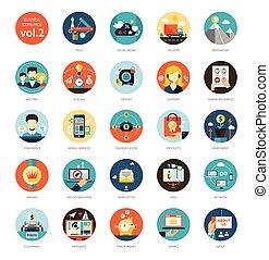 appartamento, set, icone affari, moderno, disegno, infographics