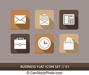 appartamento, set, icone affari