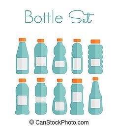 appartamento, set, icone, -, bottiglia di plastica