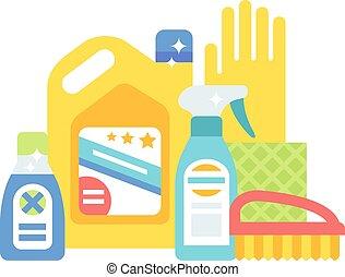appartamento, set, icone, casa, igiene, vettore, prodotti, pulizia