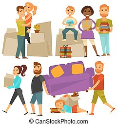 appartamento, set, icone, casa, spostare, persone, vettore,...