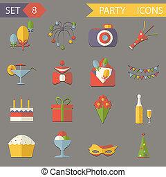 appartamento, set, icone, compleanno, illustrazione, simboli, vettore, retro, festa, celebrare