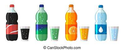 appartamento, set, icone, dolce, isolato, glasses., plastica, acqua, vettore, illustrazione, bottiglia, soda, bianco