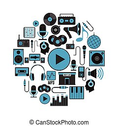 appartamento, set, icone, oggetto, etichette, isolato, illustrazione, discoteca, fondo., logos, vettore, musica, disegno web, bianco, circle.