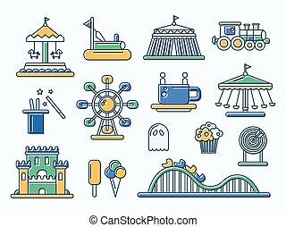 appartamento, set, icone, parco, disegno, linea, divertimento