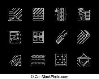 appartamento, set, icone, pavimento, vettore, bianco, linoleum, linea