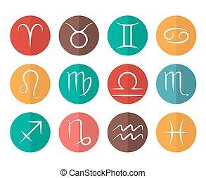 appartamento, set, icone, vettore, fondo, segni, zodiaco, bianco