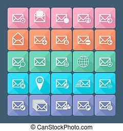 appartamento, set, illustration., venti, icons., vettore, cinque, posta