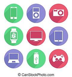 appartamento, set, illustrazione, color., vettore, congegni, bianco, elettronico, icona