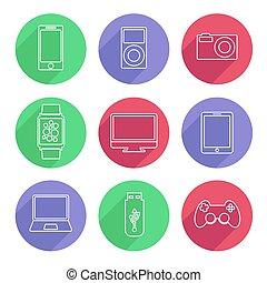 appartamento, set, illustrazione, vettore, congegni, linea, elettronico, style., icona