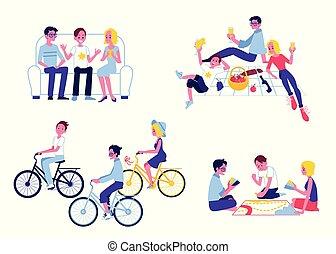 appartamento, set, insieme, vettore, caratteri, divertimento, detenere
