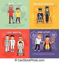 appartamento, set, invalido, persona, vettore, concetti, cura
