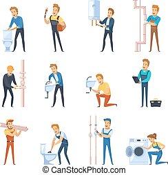 appartamento, set, lavorativo, icone, colorare, idraulici