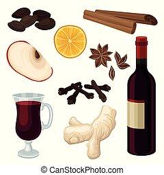 appartamento, set, mela, ingredienti, vino, pasticciato, aromatico, vetro, vettore, fetta, bottiglia, arancia, vino., spezie, rosso