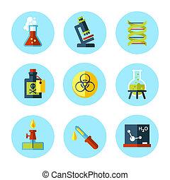 appartamento, set, moderno, vettore, chimica, style., icona