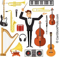 appartamento, set, musica, icona