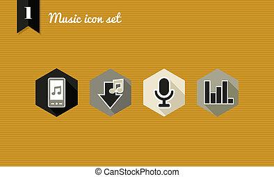 appartamento, set., musica, icone