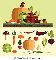 appartamento, set, organico, elements., icone, sano, verdura, isolato, cibo, vettore, disegno, fondo., fattoria, style.