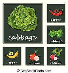 appartamento, set, patata, ravanello, verdura, icone, isolato, illustrazione, sedano, vettore, zucca