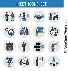 appartamento, set, persone affari, icone, riunione