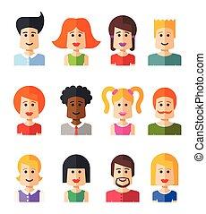 appartamento, set, persone, avatars, isolato, disegno,...
