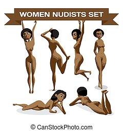 appartamento, set, prendere il sole, nudo, giovane, illustrazione, isolato, vettore, spiaggia., afro, cartone animato, dire bugie, donne