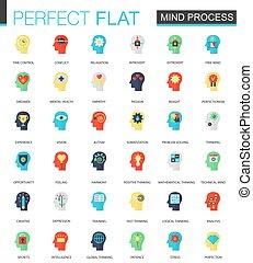 appartamento, set, processo, mente, icons., cervello, vettore