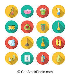 appartamento, set, pulizia, icone