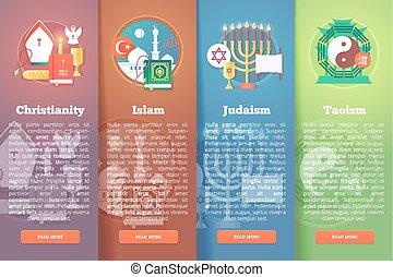appartamento, set, religioni, moderno, banners., illustrazione, religione, vettore, concepts., confessioni, style.